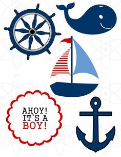 kit imprimible baby shower marinero - Buscar con Google