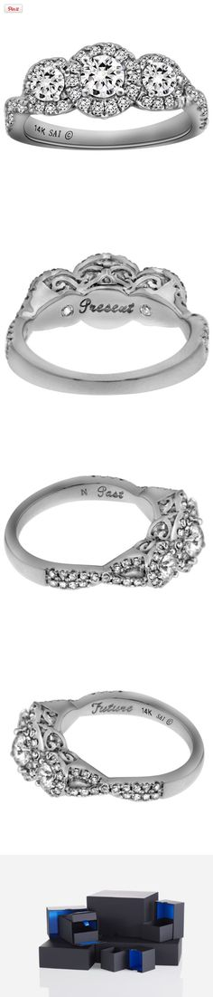 14k White Gold 1 cttw Diamond 3-Stone Past Present Future Engagement Ring, Size 7, , #Jewelry, #Engagement Rings