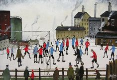 John Hanley (Northern British Football Match, oil on board signed x As a schoolboy Hanley met L S Lowry, became one of his scholars, learning his techniques and colour pallets. It w - A Gallery of Pictures The Saleroom, Football Match, School Boy, North Yorkshire, Color Pallets, Auction, British, Fine Art, Colour