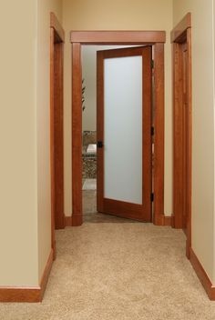 American Cherry 1 Lite Frosted Glass Bathroom Door With Contemporary Cherry  Casing.