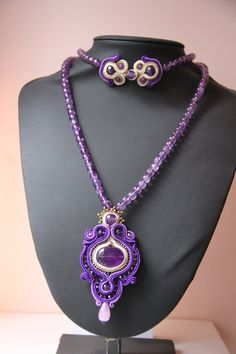 handmade soutache necklace with amethyst di notturnoindiano