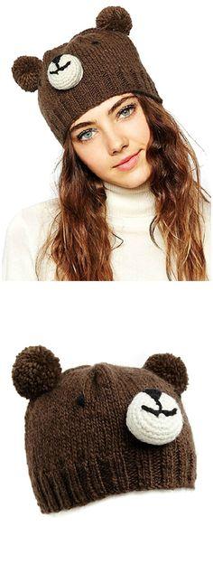 Clothink Women Brown Cute Bear Design Pom Pom Bobble Beanie Hat Knit Beanie Hat, Crochet Beanie, Knitted Hats, Knit Crochet, Crochet Hats, Beanies, Silly Hats, Cute Hats, Crochet Designs