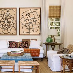 Going neutral doesn't have to mean boring walls. Search for colorless art such as oversize geometric prints.