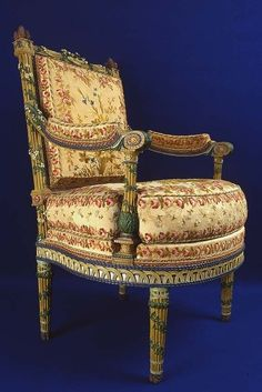 Detail picture of chair by Jacob in Marie Antoinette's private chamber in the Petit Trianon
