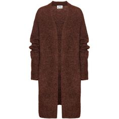 Acne Studios Raya Wool and Mohair-Blend Cardigan ($400) ❤ liked on Polyvore featuring tops, cardigans, outerwear, jackets, coats, brown, brown tops, cardigan top, wool cardigan and brown cardigan