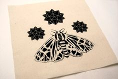 Tiger Moth and Stars Cream Sew On Patch by FennecDesignCo on Etsy, $2.50