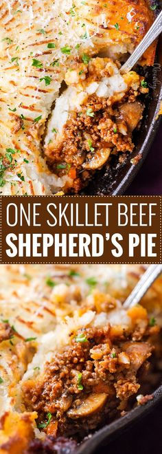 One Skillet Beef Shepherd's Pie Recipe   This rich and flavorful ground beef and vegetable mixture is topped with fluffy mashed potatoes and baked, all in ONE skillet! Technically cottage pie (since using beef), this version will be a family favorite dinner recipe!   https://thechunkychef.com   #shepherd'spie #cottagepie #groundbeefrecipe #oneskillet #onepot #mashedpotatoes