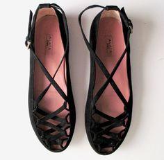 // ALAÏA CRISS CROSS black suede ballet flats, 7.5 - 8