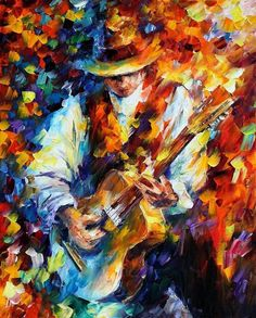 "Sing My Guitar — PALETTE KNIFE Figure Of Musician Modern Wall Art Oil Painting On Canvas By Leonid Afremov - Size: 24"" x 30"" (60 cm x 75 cm)"