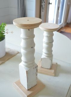 The Easiest DIY Farmhouse Candlesticks. Check out this easy tutorial to see how old spindles were used to make farmhouse style candlesticks in just a few simple steps! Bauernhaus Dekor The Easiest DIY Farmhouse Candlesticks Diy Wood Projects, Wood Crafts, Woodworking Projects, Diy Crafts, Spindle Crafts, Woodworking Organization, Woodworking Garage, Woodworking Logo, Woodworking Joints