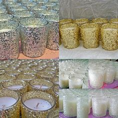 WEDDING CANDLES group of 96 Glitter Glass by SacquiasEventShoppe Visit my Etsy: For 10% off a purchase of $50+ Code: THANKS4FAVES For $20 off a purchase of $150+ Code: 20OFF150PLUS For $10 off a purchase of $100+ Code: DECORDEAL10