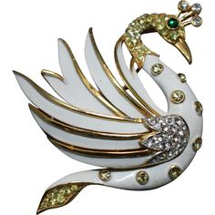 ARISTOCRATIC Alfred Philippe Crown Trifari Dimensional Swan Figural from allaboutthebling on Ruby Lane