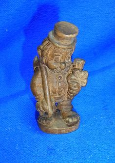 Vintage German Wood Carved CHIMNEY SWEEPER Cute Charm Figurine #CD