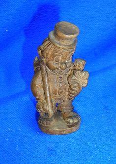 Vintage German Wood Carved CHIMNEY SWEEPER Cute Charm Figurine #CD