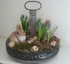 paasstukje met mos, blauwe druifjes, eitjes en 2 konijntjes.