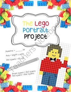 Lego Portrait Project - Fractions, Area, Perimeter, Art from Art with Ms. Gram on TeachersNotebook.com -  (13 pages)  - An art-integrated lego-themed math lesson covering counting, fractions, perimeter, area, and comparing fractions.