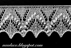 "Pattern of the edge lace motives ""Silvia"" is inspired by the traditional stitch motif ""Silvia"" which is enriched with great amount of nupps. The edge lace is forming a zigzag edge with changing textures. Lace Knitting Stitches, Crochet Stitches Patterns, Lace Patterns, Loom Knitting, Knitting Patterns Free, Free Knitting, Stitch Patterns, Art Textile, Knit Edge"