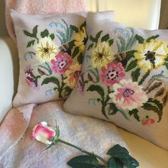 Pair of vintage upcycled needlepoint cushions of flowers in full bloom by KindredClassics on Etsy Dark Red Background, Floral Cushions, Needlepoint Kits, Upcycled Vintage, Red Poppies, Wool Yarn, Cushion Covers, Vintage Floral, Neutral Colors