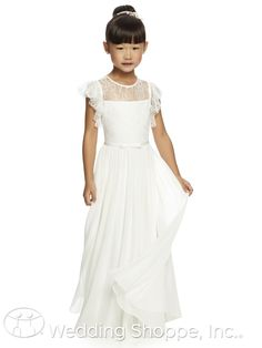 A beautiful Florentine lace and flowing georgette flower girl dress with flutter sleeves.