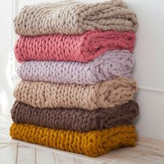 Chunky blankets in new colors. Looking good!