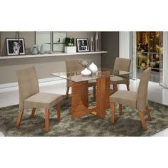 Conjunto Sala de Jantar Mesa com Tampo de Vidro e 4 Cadeiras Atuale LJ Móveis Castanho Prêmio Vel Pena Bege