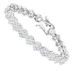 14K Gold Womens Diamond Cluster Tennis Bracelet 8.25ct