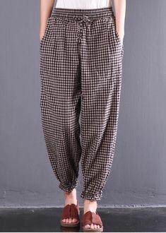 New Gray Plaid Cotton Pants Oversize Elastic Waist Casual Trousers Cuffed Pants, Trouser Pants, Wide Leg Pants, Harem Pants, Georgia, Pants For Women, Clothes For Women, Linen Trousers, Cotton Pants