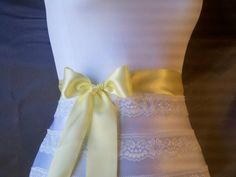 Pastel yellow satin ribbon sash 1 1/2 inch by DoIHearWeddingBells, $12.00