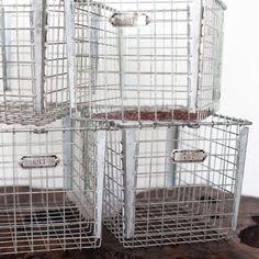 mint condition vintage metal locker baskets **only 1 basket left! Kitchen Dining, Dining Room, Metal Lockers, Wire Storage, Metal Baskets, Vintage Metal, Wooden Boxes, Room Ideas, Organization