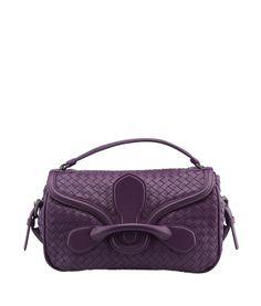 Bottega Veneta Rialto Purple Intrecciato Leather Shoulder Bag