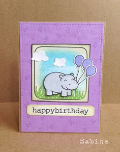 Lawn Fawn - Year Four + coordinating dies, #awesome + coordinating dies, Grassy Border die, Let's Polka 6x6 paper _ super cute Happy Hippo Birthday card by Sabine via Flickr - Photo Sharing!