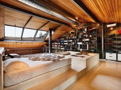 It's not everyday you come across a bachelor pad that defies all the standards. Located in Istanbul, Turkey, this penthouse loft was designed by Ofist, a Interior Design Inspiration, Decor Interior Design, Interior Design Living Room, Room Interior, Design Ideas, Room Inspiration, Design Trends, Cabinet D Architecture, Interior Architecture