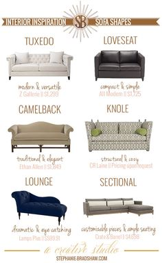 Interior Inspiration || Sofa Shapes || This is a simple but super helpful guide to finding your perfect sofa shape + some of our favorite picks of each style.
