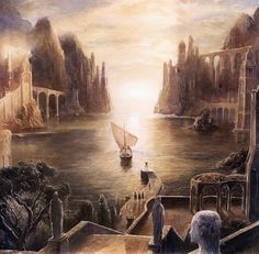 The Hobbit concept art by Alan Lee and John Howe. The last ship to leave Middle-Earth for the Undying Lands. Alan Lee, High Fantasy, Fantasy World, Fantasy Art, Jrr Tolkien, Tolkien Books, Gandalf, O Hobbit, Into The West