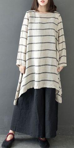 Loose Striped Irregular Linen Shirt Women Casual Tops – Plus Size Women's Clothing Casual Tops For Women, Trendy Clothes For Women, Ladies Tops, Casual Chic Sommer, Women's Fashion Dresses, Boho Fashion, Cheap Fashion, Fashion Boots, Fashion Trends