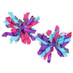 hair bow craft fair ideas   Festive Zebra Mini Korker Bow Hair Clips Set of 2