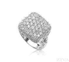 Square Pave Diamond Ring