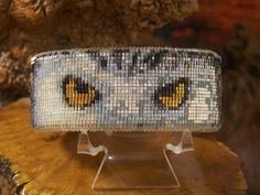 Native American Beaded White Owl Copper Cuff Bracelet Made With Soft buckskin Leather with the blends of soft fire colors of the Southwest The Wildlife Series