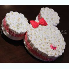 Minnie Mouse diaper cake by Dapperbabycakes on Etsy
