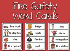 Fire Safety Picture-Word Cards