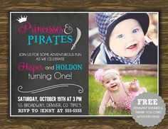 Princess and Pirate Chalkboard Birthday Invitation - Printable - FREE pennant banner and thank you card with purchase
