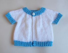 Short Sleeved Perfect Baby Boy or Girl Top Down DK Jacket by marianna mel