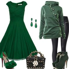 So...much...green.   Can't do the pumps, but love the dress. <3