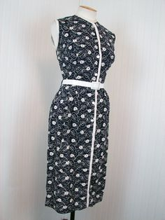 SALE 1950s Dress - FLORA Vintage 50s Navy and White Wiggle Embroidered Rayon Mad Men Sundress L. $68.00, via Etsy.