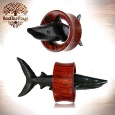 "Pair Organic Blood Wood Tunnels Double Flare Ear Plugs Shark Tunnel 3/4"" inch and 1"" inch Wooden Gauges by WoodEarPlugs on Etsy https://www.etsy.com/listing/232971531/pair-organic-blood-wood-tunnels-double"