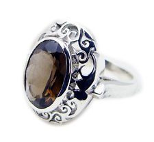 Smoky Quartz 925 Sterling Silver enticing jaipur Ring KMOQ UK