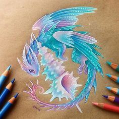 Want to discover art related to dragons? Check out inspiring examples of dragons artwork on DeviantArt, and get inspired by our community of talented artists. Creature Drawings, Animal Drawings, Cool Drawings, Mythical Creatures Art, Fantasy Creatures, Fantasy Dragon, Fantasy Art, Fantasy Drawings, Cute Dragon Drawing