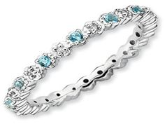 .925 Silver Stackable Blue Topaz Eternity Diamond Ring Band (Online at Gemologica.com)