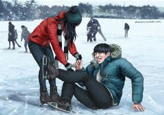 Hello everyone! I'm finally back continuing the winter series! This time it's Jungkook failing to impress his gf on skates.