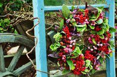 Beautiful wreath and turqouise window